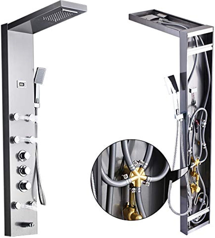 SHIJING Modernes Regenduschpaneel aus Edelstahl mit Wasserfall und Handbrause zur Wandmontage für das SPA-Massagesystem,1