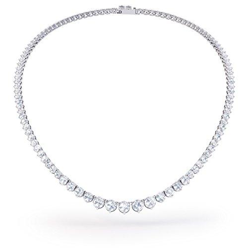 Ewigkeit weiß saphir Silber Tennis Halskette (Rand bis 19in weiß gold)