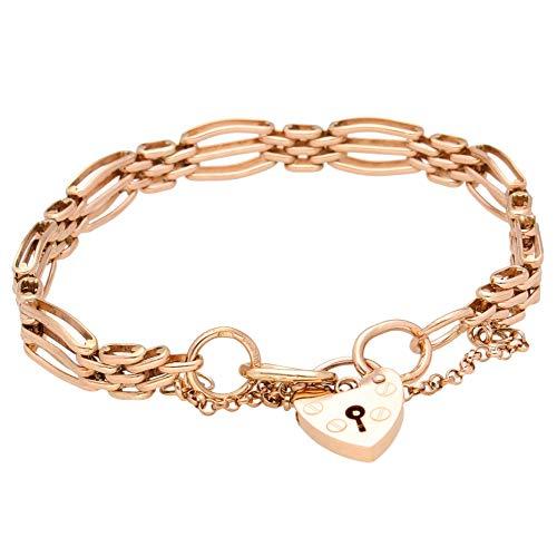 Jollys Jewellers Women's 9Ct Rose Gold 8' Gate Link Bracelet w/Heart Padlock Clasp (8mm Wide & 13x18mm)
