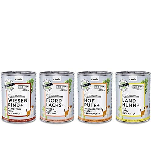 naftie Bio Hundefutter Mischpakete | Nassfutter Menüs Spar-Pakete mit 4 Sorten | Glutenfrei | 35% Fleischgehalt | ideal für Sensible & Senior Hunde | proteinreduziert purinarm | Diät-Futter | 4x400g
