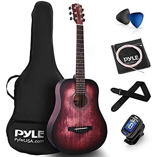 "Pyle, Acoustic Guitar Starter Pack-34"" ½ Junior Size 6 Linden Wood Red Burst Design w/Accessories Case Bag Steel Strings, Nylon Strap, Tuner, Picks, for Beginner (PGA820)"