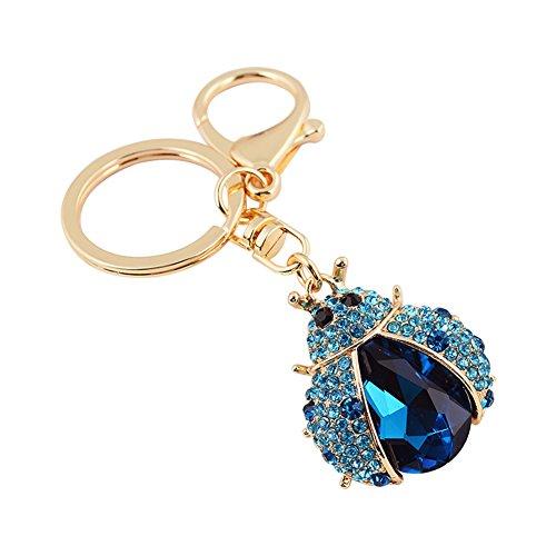 Spaufu 1 x Porte-clés fantaisie Strass Coccinelle Forme Pendentif Clé de voiture porte-clés Sac à dos Sac à main Sacs à suspendre Décorations femmes filles Cadeau accessoire, bleu, 10 x 4 x 3.5cm