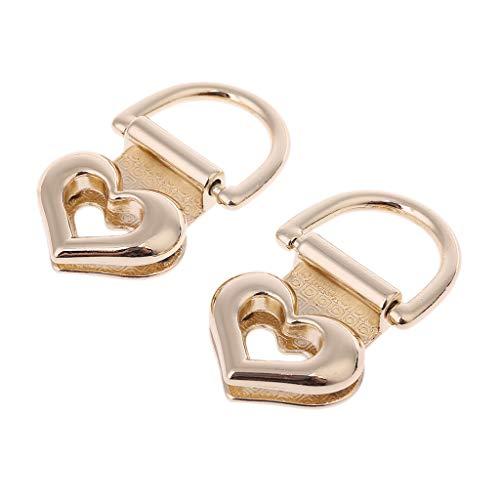 JERKKY Bag Lock 2 stuks van metaal in hartvorm kliksluiting Twist Lock voor schoudertas tas DIY hardware goud