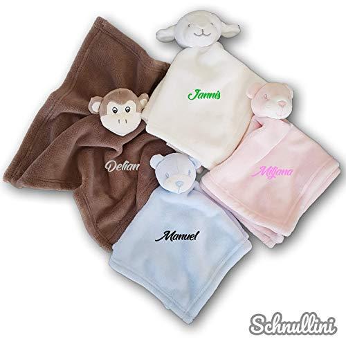 *Schmusetuch mit Namen bestickt Kuscheltuch Schnuffeltuch Kuscheldecke für Baby Kinder Junge Mädchen*