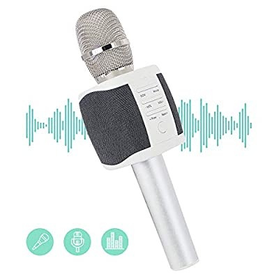 Wireless Microphone Speaker,JTD Bluetooth Karaoke Microphone with Dual Speakers for Home KTV Outdoor Party Music Playing Singing, iPhone Android PC, Grey