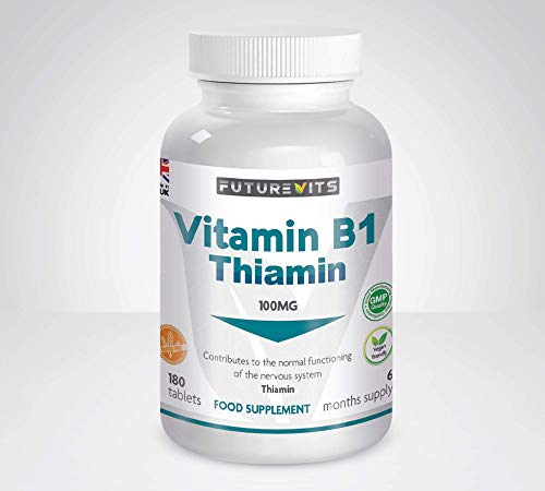 Vitamin B1 100mg (Thiamin) Suitable for Vegans and Vegetarians Made in UK by Futurevits 6 Month Supply, Premium Grade only.