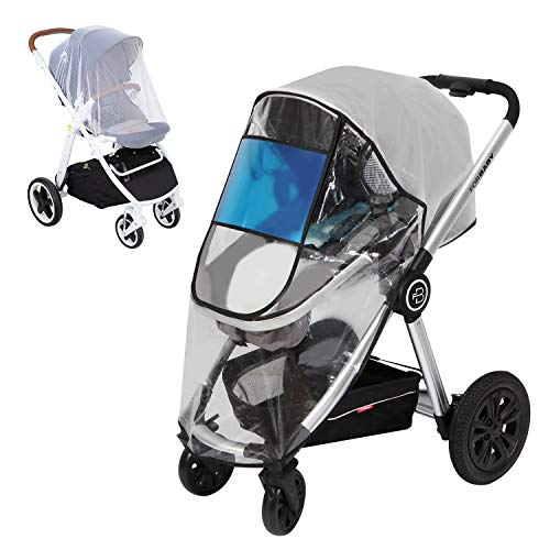 Hrzeem Universal Rain Cover for Stroller - 2020 New PVC-Free Baby Stroller Rain Cover, Waterproof & Windproof EVA Stroller Weather Shield with Mosquito Net