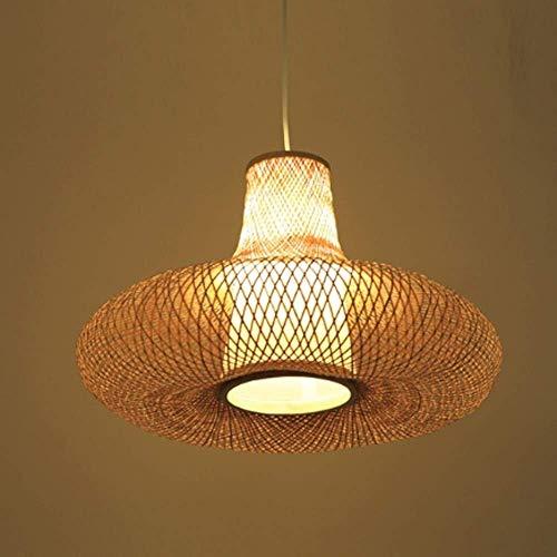 Lámpara de candelabros, tropical natural bambú ratán colgante lámpara de bambú lámpara lámpara lámpara de chandeler habitación dormitorio sala de comedor luces colgantes decoración interior E27