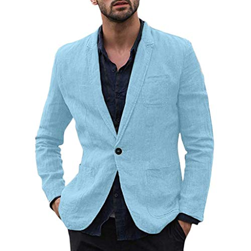Holzkary Men's Casual Suit Blazer Jackets Lightweight Sports Coats One Button with Pockets(L.Sky Blue)
