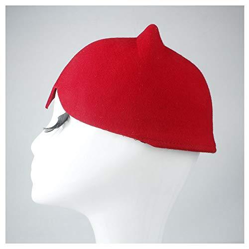 100% Wolle Frauen Baseball-Mütze Damenhut mit Teufel Hörnern Nette Katze Ohr Hut Tier Derby Bowler Schöne Kappe Hut (Farbe : Khaki, Größe : 58-59cm)