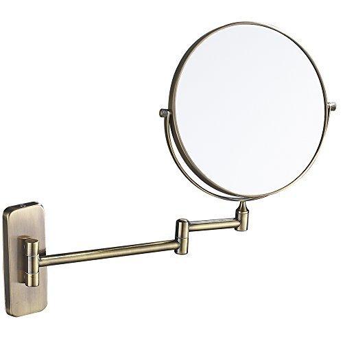 Gurun Support mural Miroir de maquillage avec 5 x/10 x grossissement Double face miroir rond, chrome M1406