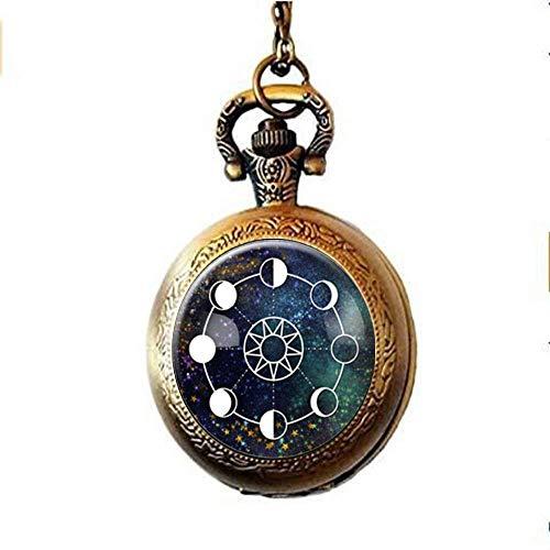 Mondphasen-Galaxie-Taschenuhr-Halskette, kosmischer Weltraum-Schmuck, Nebula-Schmuck, personalisierte Geschenke
