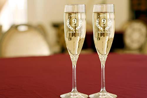 9e verjaardag Toasting fluiten verjaardag geschenk gepersonaliseerd champagne bril champagne fluiten champagne fluiten verjaardag bril