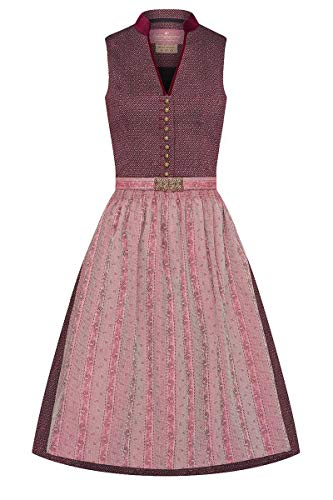 Lieblingsgwand Midi Dirndl 65cm Bordeaux Altrosa Gemustert Clara 008228 - limitiert 34