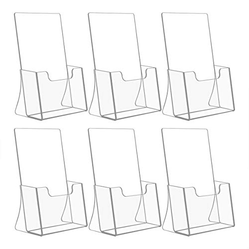 NIUBEE 6 Pack 8.5'' x 5.5'' Acrylic Bi-fold Brochure Holder,Clear Plastic Counter top Organizer