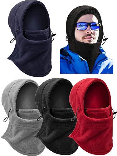 4 Pieces Balaclava Fleece Hood for Women Men, Cold Weather Balaclava Ski Face Cover Winter Gear Neck Warmer Hood for Cycling Motorcycling