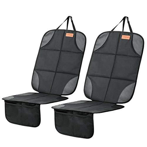 Protector de asiento de coche, paquete de 2 asientos de seguridad para bebé con acolchado más grueso y bolsillos de malla antideslizante para proteger de la suciedad y derrames para bebés y mascotas