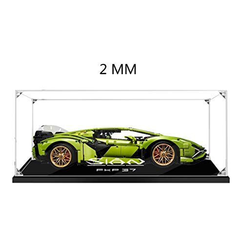 MOEGEN Vitrina de Acrílica Display Case para Lego 42115 Technic Lamborghini Sián FKP 37 Coche de Carreras, Caja de Exhibición de Protección a Prueba de Polvo Compatible con Lego 42115