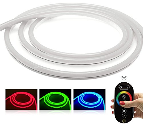 Ledu Neon Flex Premium Set LED RVB avec contrôleur, télécommande et radio NT (24 V bande de LED Stripe LED sans lumière points, durchgängig lumineux, 12 W/M, EEK : A), 10 Meter 24.00 volts
