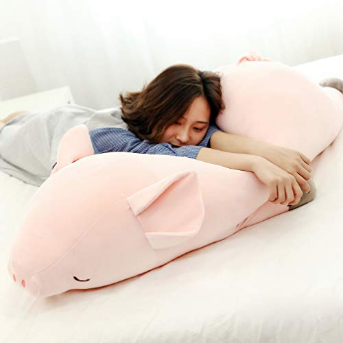 Sallypan Schweinekissen, Down Cotton Pink Pig Plush Toy Doll für die Hausdekoration Kindergeschenk,60cm