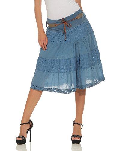 ZARMEXX falda de verano de las mujeres hasta la rodilla falda de la tela de la colmena de algodón con cinturón A-Line (jeans azul, 36-40)