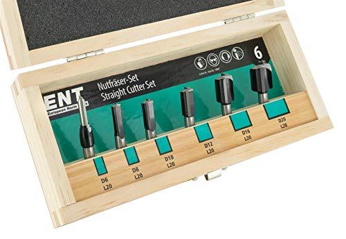 ENT 09007 6-tlg. Nutfräser Set HW mit Hartmetall Grundschneide zum Einbohren - Ø 6-8-10-12-16-20 - Schaft Ø 8 mm