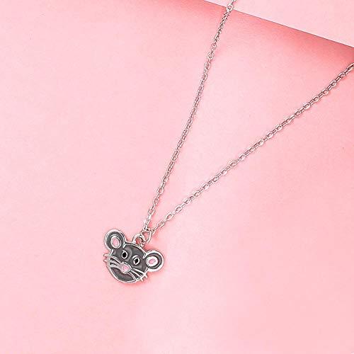 LAOGEFJ Halskette S925 Sterling Silber Ratte Tierkreis Geburtskette Niedlichen Kleinen Maus Schlüsselbein Kette Mädchen Geschenk