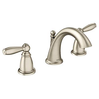 Moen T6620BN Brantford Two-Handle 8 in. Widespread Bathroom Faucet Trim Kit, Valve Required, Brushed Nickel