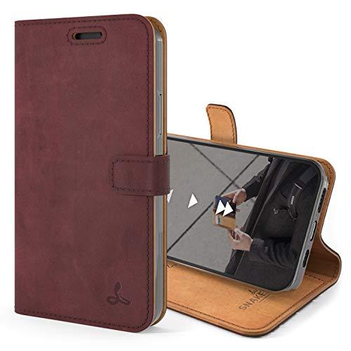 Snakehive iPhone 12 Mini Schutzhülle/Klapphülle echt Lederhülle mit Standfunktion, Handmade in Europa für iPhone 12 Mini (Lila)
