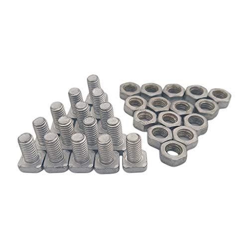 B Blesiya 30x Aluminium Flachkopfschrauben für Gewächshaus - Vierkant Schrauben mit Muttern