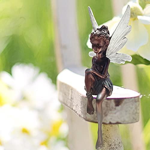 OFOCASE Hadas Figuras Decoracion Figuras Jardin Exterior, Hadas Jardin Exterior Figura Decorativa de Hada Sentada Para Jardín, Estatuas Jardin Exterior Ornamento Figura de Resina