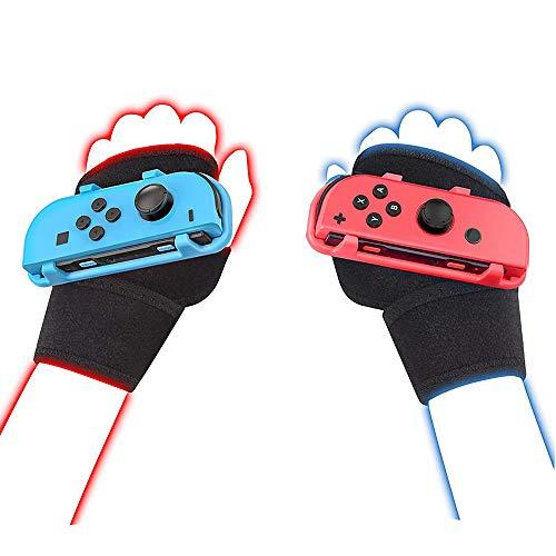 Coltum Armbänder für Just Dance 2021 2020 2019 Schalter, Handfreies elastisches Armband für Nintnedo Switch Tanzzubehör, JoyCon Grip Pair (Erwachsene Rot+Blau)