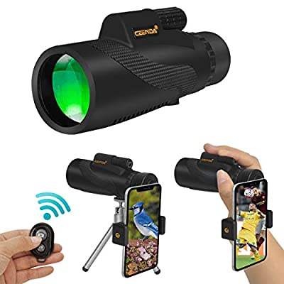 Ceenda Monocular Telescope,12x50 HD BAK4 Prism Waterproof High Power Monocular with Phone Photography Adapter and Wireless Remote Control?Perfect for Bird watching Hiking Concerts by ceenda