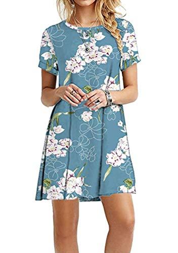OMZIN Damen Sommerkleid Lockeres Sommerkleid Basic Longshirt Rund Ausschnitt T-Shirtkleid Blau Lilie XS
