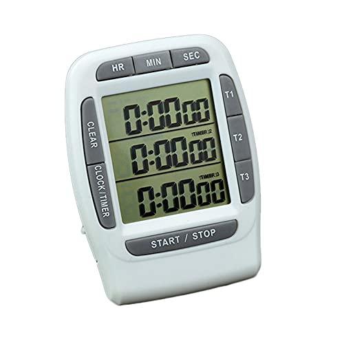 TJUYT Temporizador de Cocina de Cocina Digital 3 Canales Temporizador de conteo Ascendente/descendente Interruptor de Encendido/Apagado Cronómetro Alarma de Volumen Ajustable