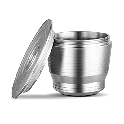 Reusable Refillable Coffee Capsule, Bresuve Stainless Steel Metal Refillable Coffee Capsule for Nesspresso Machine with 1 Spoon and 1 Brush