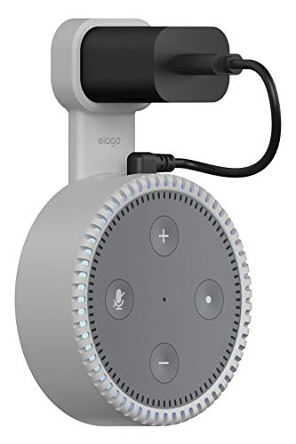 elago Echo Dot 2nd Generation Outlet Wall Mount [Light Grey] - [Short Cable Included][All Around Protection][Special Coating][Space Saving] for Amazon Alexa Echo Dot 2nd Generation