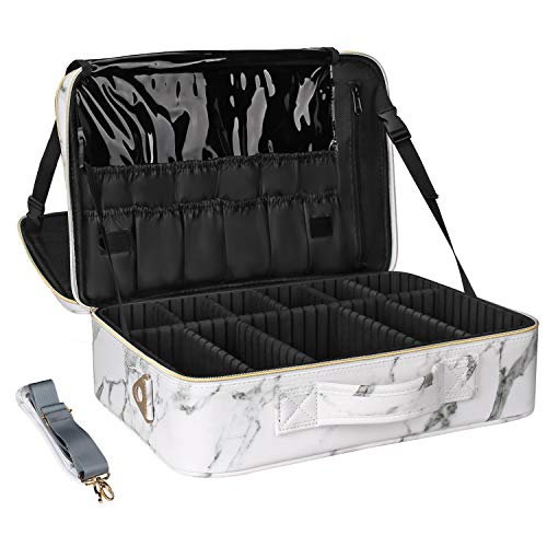 Relavel Marble Cosmetic Bag Large Size Travel Makeup Bag Marble Cosmetic Case Professional Makeup Case for Women With Adjustable Partition and Shoulder Strap (Marble White)
