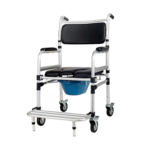 QDY-Bedside Commodes Multifunction Mobile Toilet with 4 Wheels and Footrests/Bath Toilet Chair Wheelchair Disabled Bath Toilet Chair/The Best Gift to Grandparents