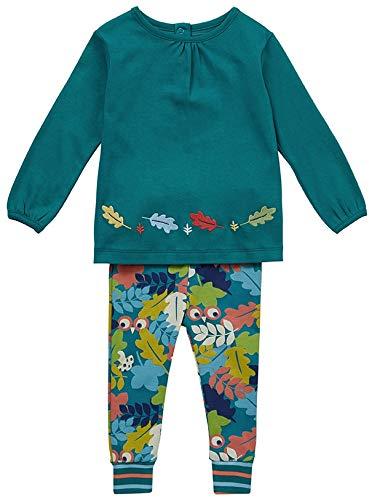 Piccalilly Ensemble de vêtements 2 pièces pour fille avec tunique et leggings en coton bio Vert sarcelle - Vert - 2 mois