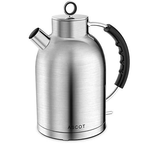 Electric Kettle, ASCOT Stainless Steel Electric Tea Kettle, 1.7QT, 1500W, BPA-Free, Cordless, Automatic Shutoff, Fast Boiling Water Heater - Matte Silver
