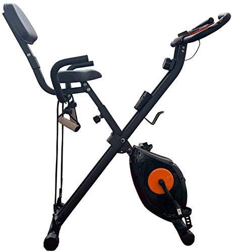 Bicicleta de ejercicio plegable para interiores con sensor de frecuencia cardíaca y pantalla de consola, bicicleta de fitness silenciada y entrenador de abdominales con pedal de interior de 120 kg