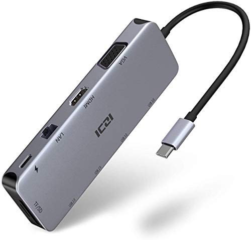 ICZI Hub USB C 10 in 1 Adattatore 4K HDMI VGA 4 USB 3.0/2.0 Ethernet 1Gbps PD 80W Slot SD/TF in Alluminio per MacBook PRO/Air Surface Go/Pro7 Samsung Dex S10 Huawei P20/30 Mate 20/30 ecc