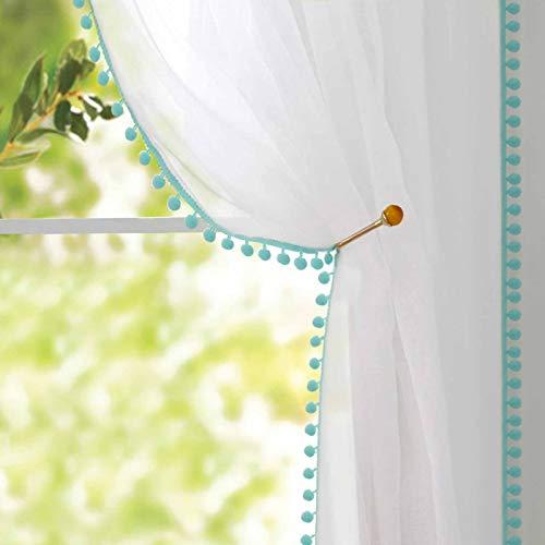 Naturoom Pom Pom Sheer Curtains Tasseled Linen Look Semi-Sheer Curtains - Rod Pocket Voile Semi-Sheer Curtains for Girls Kids Bedroom Living, Set of 2 Curtain Panels (54 x 63 inch, Blue Pom Poms)