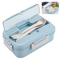 porta pranzo, zoneyan lunch box con posate(forchetta e cucchiaio), bento box con scomparti bambini, porta pranzo contenitori per microonde (blu)