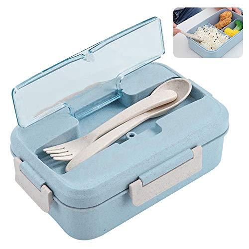 ZoneYan Bento Box, Lunchbox Kinder, Brotdose mit Fächern, Auslaufsichere Brotzeitbox, Vesperdose Mikrowelle Heizung für Schule/Arbeit/Picknick Reisen (Green)