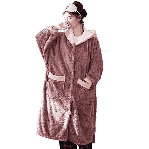DXX-HR Invierno Albornoz Franela Ropa de Noche Atractiva del Kimono Long House Robe Espesar más Mujeres del tamaño Vestir Escudo Inicio arropa el Vestido SPA Felpa Kimono, XXL