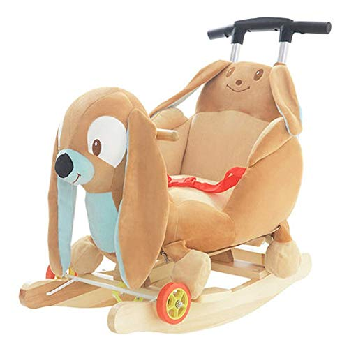 Baby Rocking Horse Ride Toy, Rocking Horse Children's Wooden Horse rocking Chair Solid Wood with Rocking Cradles