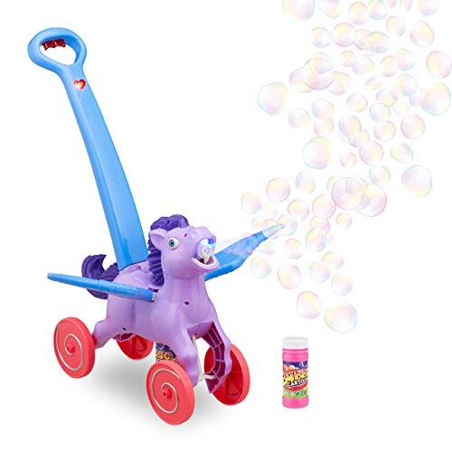 Relaxdays 10024933 LED Seifenblasenmaschine Pegasus, 2X Flüssigkeit, Schiebetier für Kinder, Seifenblasen Pferd, elektrisch, lila