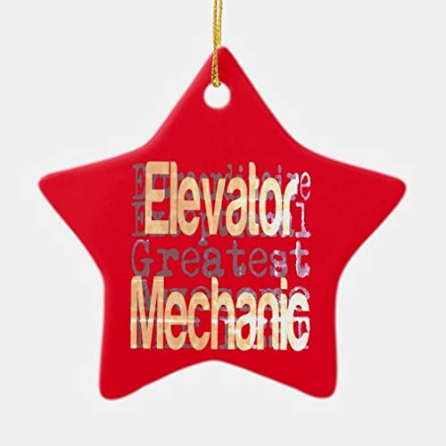 onepicebest Christmas Ornaments, Great Elevator Mechanic Ceramic Star Shape Ornament Xmas Gifts Presents, Holiday Tree Decoration Stocking Stuffer Gift